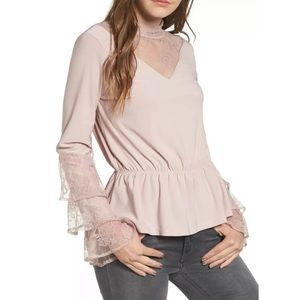 Leith Pink Long Sleeve Lace Ruffle Mock Neck Top